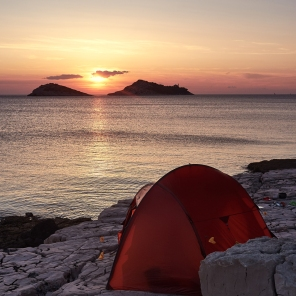 our beautiful camp on our lonely island