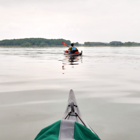 with the sea kayak on the Achterwasser
