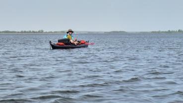 Paddling on the Achterwasser Christian in his kayak
